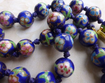 Vintage Chinese Faux Cloisonne Enamel Hand Knotted Bead Necklace