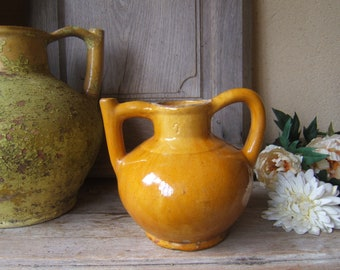 antique French Mustard  Small yellow Glazed PITCHER JUG ORJOL Numeroted 7 Pottery Eartthenware Southwestern Provence no confit pot