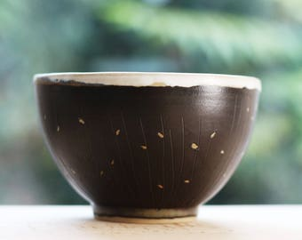 Stoneware - engraved enamel - ceramic - handcrafted Bowl