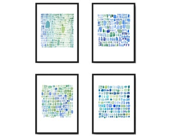 watercolor turquoise, Nautical home decor, set of 4 prints Sea glass art, watercolor paintings blue green abstract art