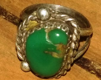 Southwest sterling silver turquoise Native American ring size 6