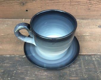 Gray Ombre Soup Mug with Matching Saucer Plate - 30 oz. - Extra Large Mug and Dish Set - Shades of Black White Grey Slate - MTO