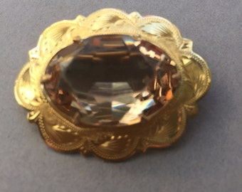 1940's Large Gold Plated Brooch