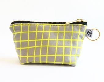 Charlie Change Purse, Change Purse, Zippered Pouch, Zippered Handbag, Fabric Accessories, Accessories,  Cosmetic Bag,Yellow Grid