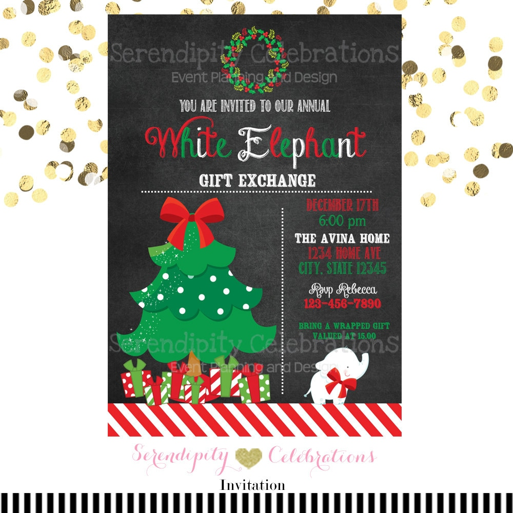 White Elephant Party Invitation Gift Exchange Party