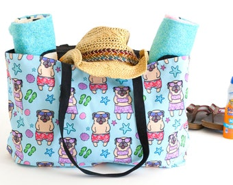 Pug Weekender Beach Tote Bag - Pugs Beach Bag - Pug overnight bag
