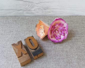 XO Wood Letterpress Letter Blocks from 1930s, Vintage Letterpress XO -  Hugs and Kisses [Inventory #12]