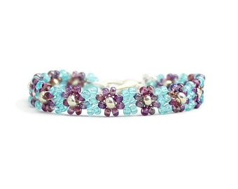 Purple Flower Girl's Bracelet - Children's Daisy Chain Jewelry - Aqua and Purple Seed Bead Bracelet - Kids Beaded Jewelry
