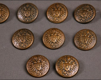 10 pcs vintage METAL BUTTONS brass uniform steampunk 7/8''