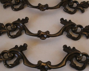 """Vintage Handles Furniture Hardware Mid-Centry Decor Drawer Pulls 10"""" Bronze- Set of Eight FREE SHIPPING"""