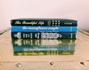 Vintage Trio of Black + Blue Books / Decorative Book Set