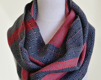 Handwoven Cotton Loop Scarf Charcoal, Red + Black - Shimmer