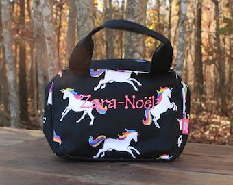 Girls Monogrammed Unicorn Lunch Bag Girls Personalized Lunch Tote