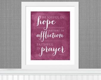 """Bible Verse """"Be Joyful in Hope"""" Nursery Art -  8x10 - Pink - DIY Printable - INSTANT DOWNLOAD"""
