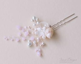 Light pink seashell hair pin. Seashell  beach wedding hair accessories. Nautical wedding headpiece. Shells and crystals hair pin