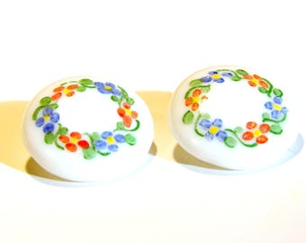 White Glass Buttons - Set of Two