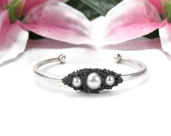 White Pearl Cuff Bracelet - Silver Freshwater Pearl Bracelet