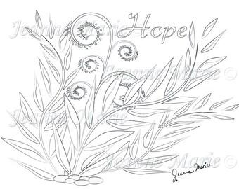 Hope Ferns Fantasy Coloring Page Adult Digital Stamp Motivational Download Inspirational Series