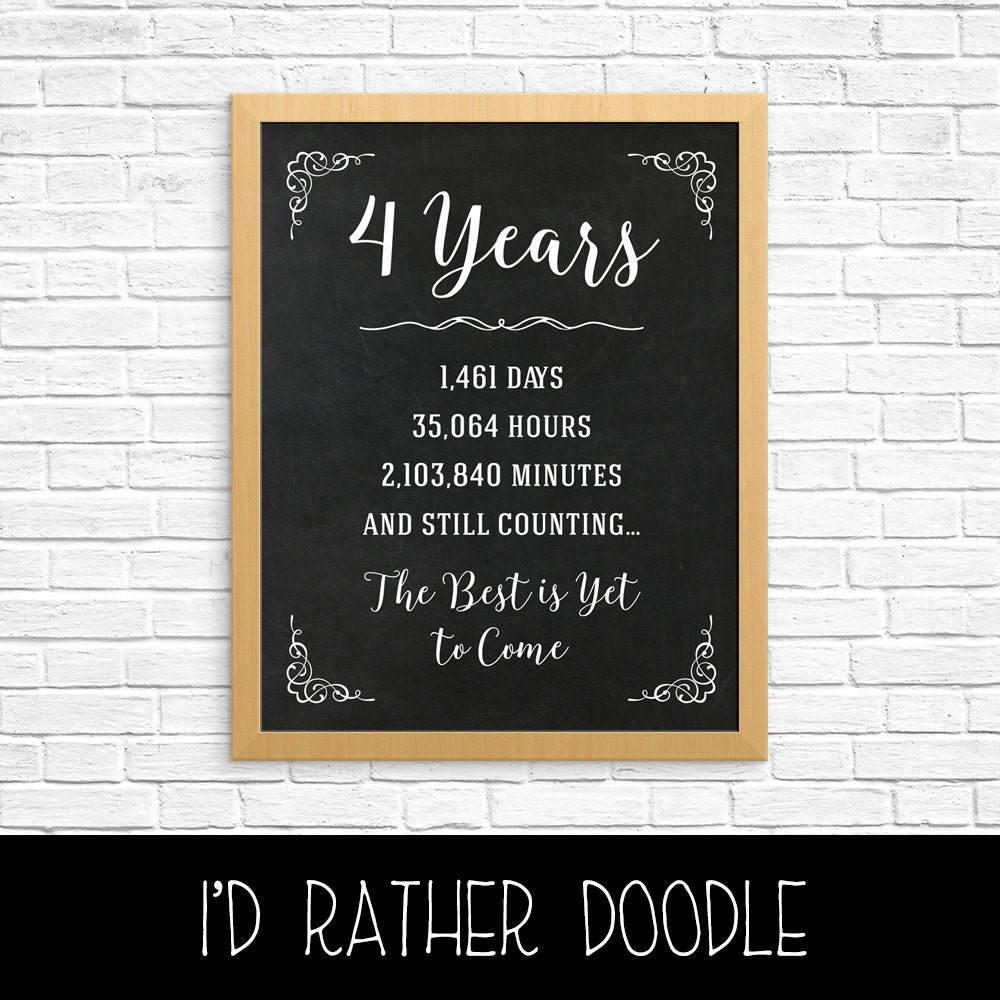 4th Wedding Anniversary Gift Ideas: 4th Anniversary Gift 4th Year Wedding Anniversary 4th