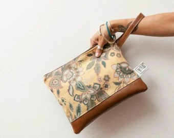 Women's wrist clutches, vintage fabric and faux leather