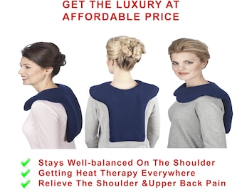 Lavender Navy Blue Shoulder Back Heating Wrap (L), Aromatherapy, Moist Hot Cold Pack, Washable Cover, Herbal Heat Pad for Back Pain