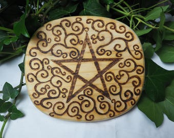 English Pine Wood Double Sided Altar Board - Pentagram & Labyrinth - Witches Altar, Pentacle, Spirals