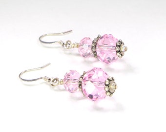 Pink glass beads, dangle, drop earrings, rondelle shaped beads