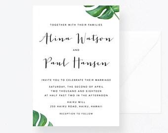Leaves Wedding Suite, Greenery Wedding Set, Green Invitation, Green Leaves Wedding Invite, Wedding Greenery Invite, Tropical Wedding Leaves