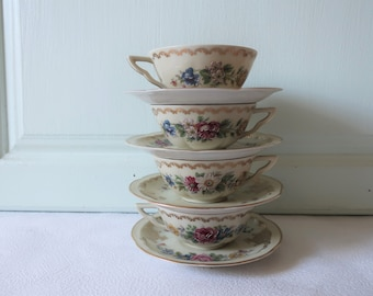 C. Ahrenfeldt Limoges espresso, coffee, tea cups and saucers, French vintage, French décor – 4  tasses expresso.