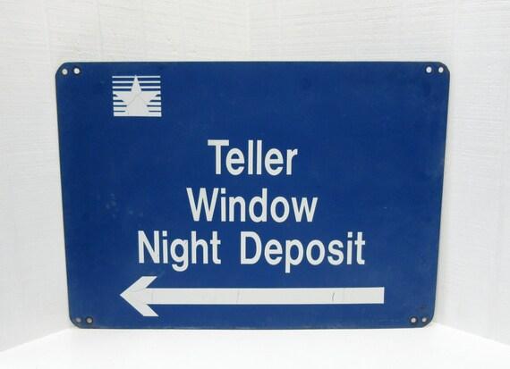 Vintage Metal Bank Teller Sign