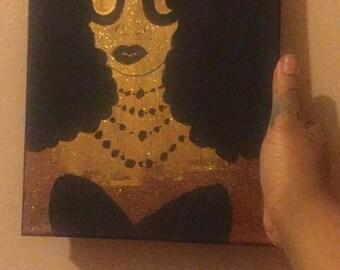 Gold Glitter Afro Girl