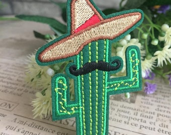 Cowboy Cactus Hipster Embroidered Iron on Sew on Patch Applique