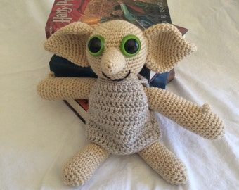 Crochet Dobby the house elf. Large Harry Potter stuffed animal.
