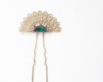 Art deco hair comb emerald bridal pin crystal brass filigree vintage 1920's style elegant jewel rhinestone wedding hair accessory amethyst