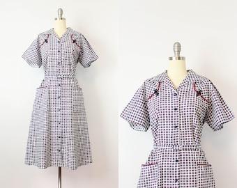 vintage 40s cotton dress / 1940s floral shirt dress / belted cotton print dress / 40s summer dress / Top Mode dress