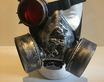 Steampunk Respirator Gas Mask And Spiked Monocle, With Red Skull Light Up LED Design Post Apocalyptic Survival, Mad Max, Wasteland Style