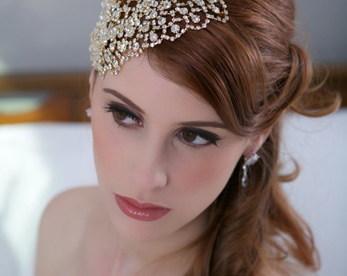 Gold Crystal Bridal Headpiece, Art Deco Crystal beaded head piece, Gold Crystal Hair Piece Hair Comb, Crystal Wedding Hair Accessories