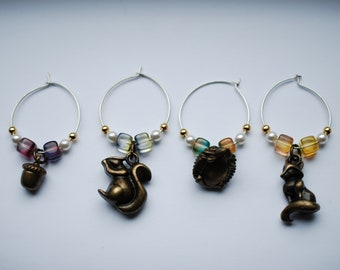 Forest Animals Wine Glass Charms