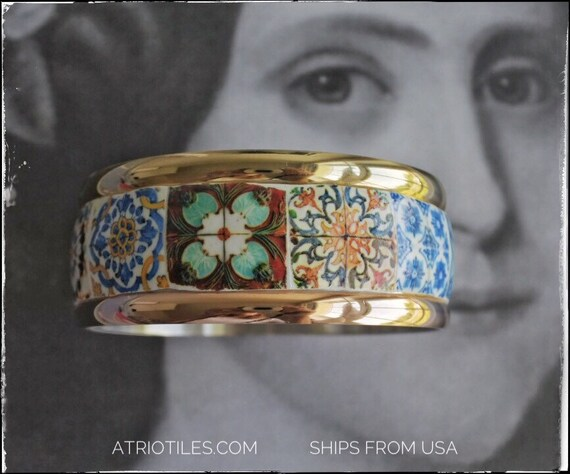 "Bangle Bracelet STAINLESS STEEL Portugal Tile Blue Azulejo -  8 1/4"" or 21cm - Two Toned - Ships from USA"