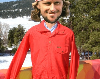 vintage 80s windbreaker EDDIE BAUER warm up tennis henley wind pullover red jacket Small