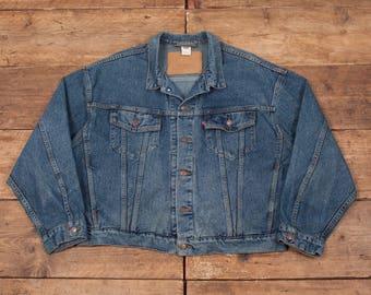 "Mens Vintage Levis Red Tab 70598 Stonewash Blue Denim Jacket XL 50"" R5553"