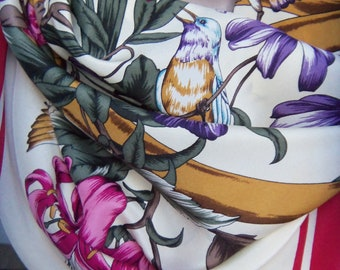 Vintage Swedish scarf with Fanfare, Hummingbirds & Flowers, Hand rolled edges