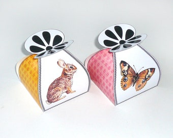 Rabbit favor box, butterfly, tortoise, chicken, easter bunny, spring, DIY printable, packaging, 2.pdf, digital files, gift box templates