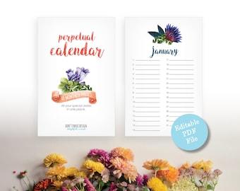 Printable Floral Perpetual Calendar - Editable Eternal Birthday Calendar - Anniversary Calendar - Flower Calendar - Instant Download