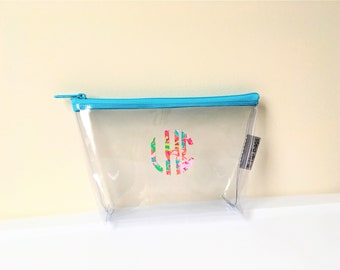 Small Travel Cosmetic Bag Clear Vinyl Monogram Lilly Pulitzer Zipper Make Up Wet Bag/Pouch/Accessory/Baby/Supplies/Bridesmaid/Beach Pool