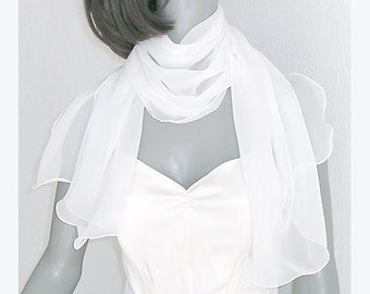 Bridal Shawl Wedding Wrap Natural White Sheer Formal Scarf Coverup, Special Occasion, Chiffon Stole, S XS Petite Medium M L Plus, Artinsilk.
