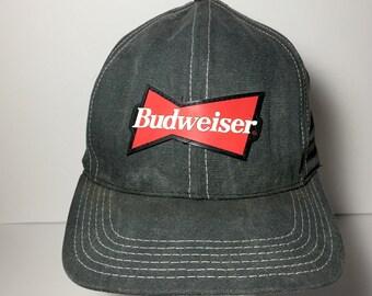 Vintage 80s 90s Budweiser SnapBack Trucker Hat - Bud Beer Baseball Cap - Gray Red White 3D Raised Patch Adjustable Buckle Back
