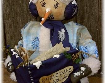 Primitive Christmas Caroling Snowman Doll Pattern