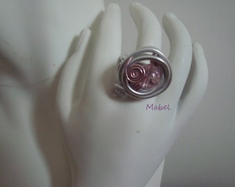 Pink soft, faceted, aluminum silver wire, glass Pearl Adjustable ring