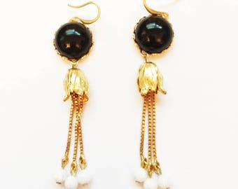 "Black Onyx with Opals Art Nuveau look-24kt Gold Plated 3"" Long-Handmade Original."